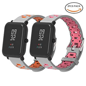 SenMore Correa para Xiaomi Amazfit Bip Younth - 20mm Silicona Pulsera Impermeable Correas de Repuesto para Galaxy Watch 42mm, Gear S2 Classic, Huawei ...