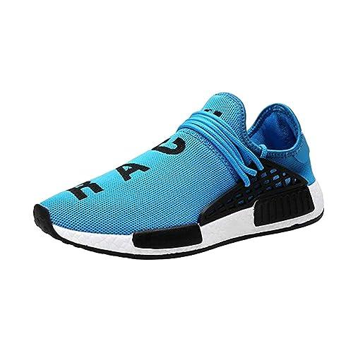 hibote Zapatillas de Correr Hombre Mujer Par Estampado Patchwork Casual Cómodas Calzado para Deporte Zapatos para Andar con Cordones Bambas de Gimnasia ...