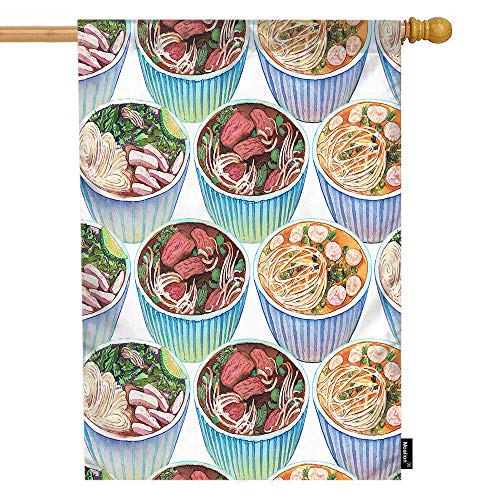 Moslion Food House Flag Watercolor Hot Fresh Asian Soup Bowl Noodle Meat Vegetable Garden Flags 28x40 Inch Double-Sided Banner Welcome Yard Flag Home Outdoor Decor. Lawn Villa