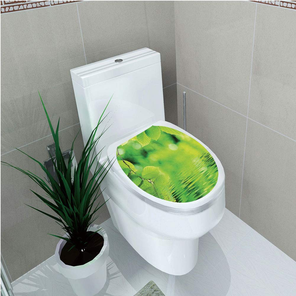 Toilet Applique,Leaves,Leaves in Water Spa Open Your Chakra with Nature Meditation Ecological Monochrome Photo,Green,Custom Sticker,W11.8''xH14.2''