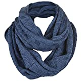 Unisex Soft Knit Winter Infinity Scarf (Multicolor Choose) (Check Style-Navy)