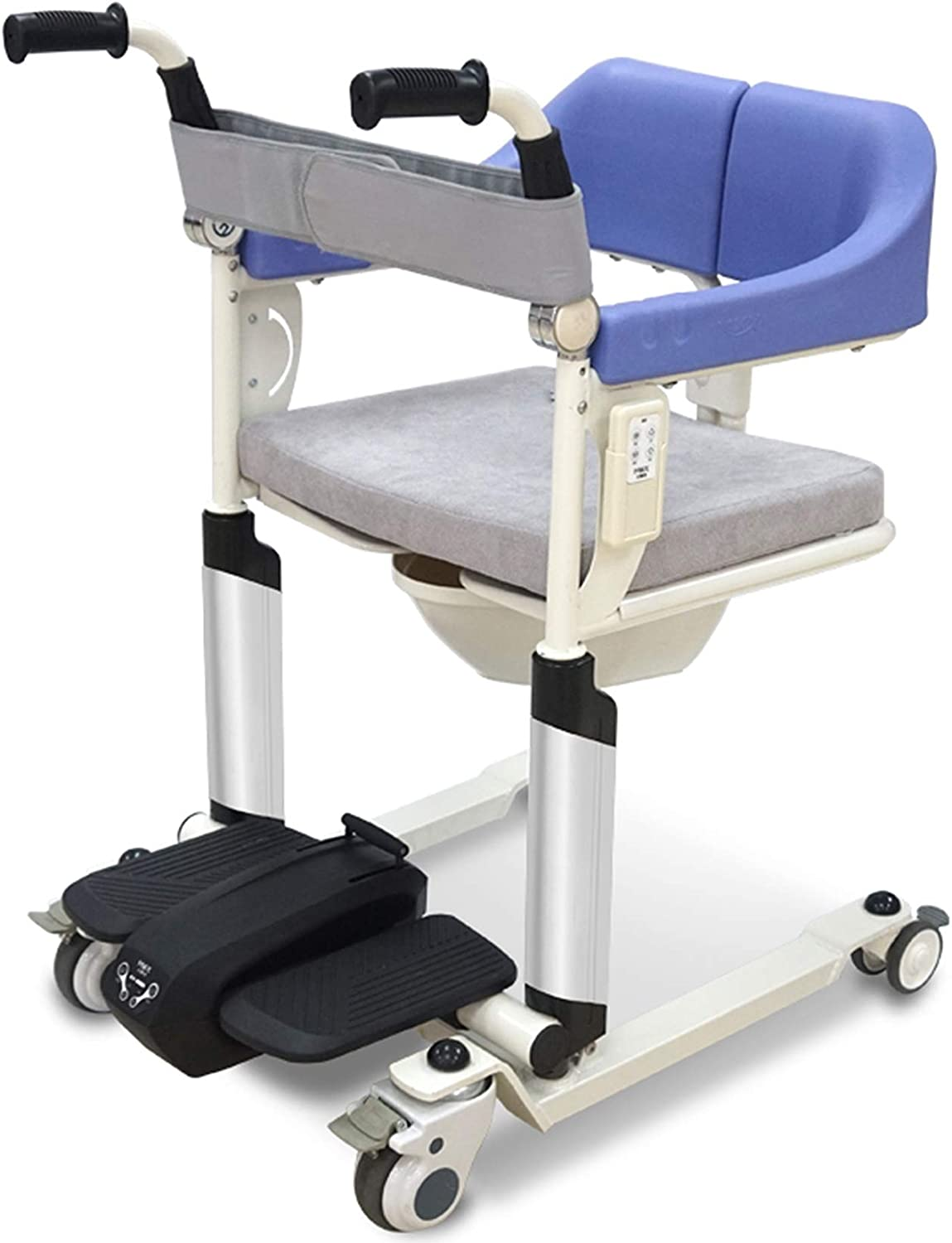 Gycdwjh Multifunctional Wheeled Bathroom Chair,for Patient Transfer Electric Lift Chair,with Folding Armrests,Suitable for Nursing Home Rehabilitation Wheelchair,Electric Version
