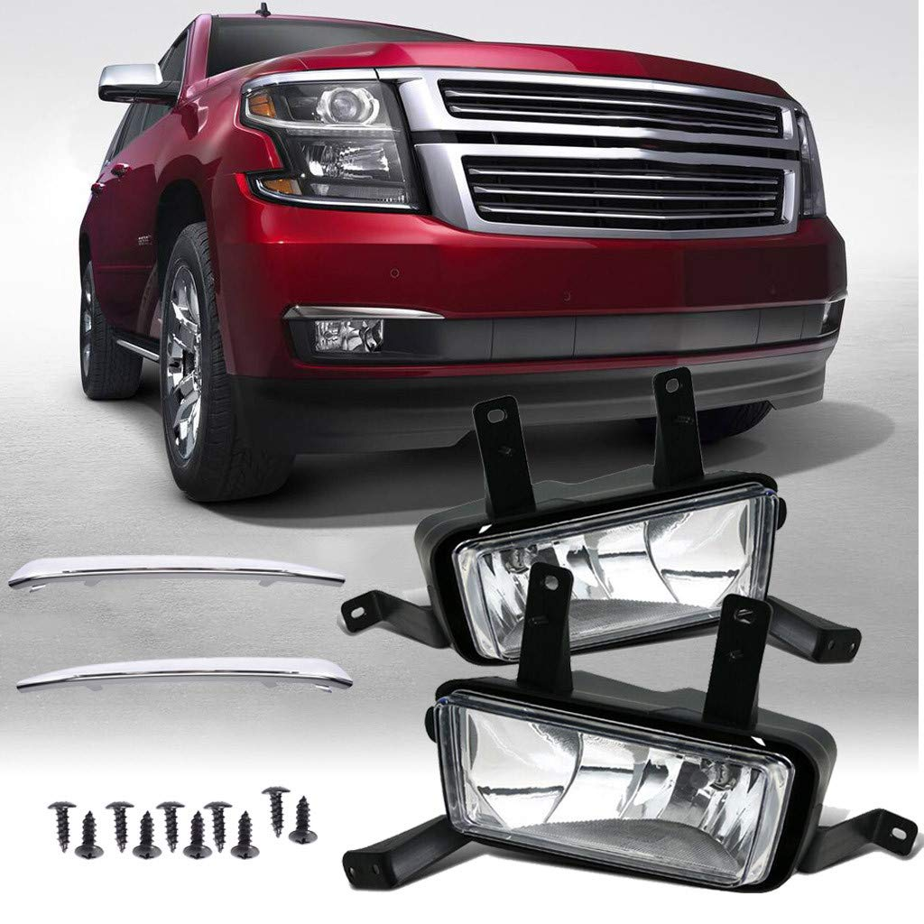FunDiscount LED Fog Lights Compatible for Chevy Suburban/Tahoe 2015 2016 2017 2018 All Models Assembly Kit with Bezels, 12V 55W Driver and Passenger Side Waterproof LED Bumper Lamps Set (Black) by FunDiscount Shop