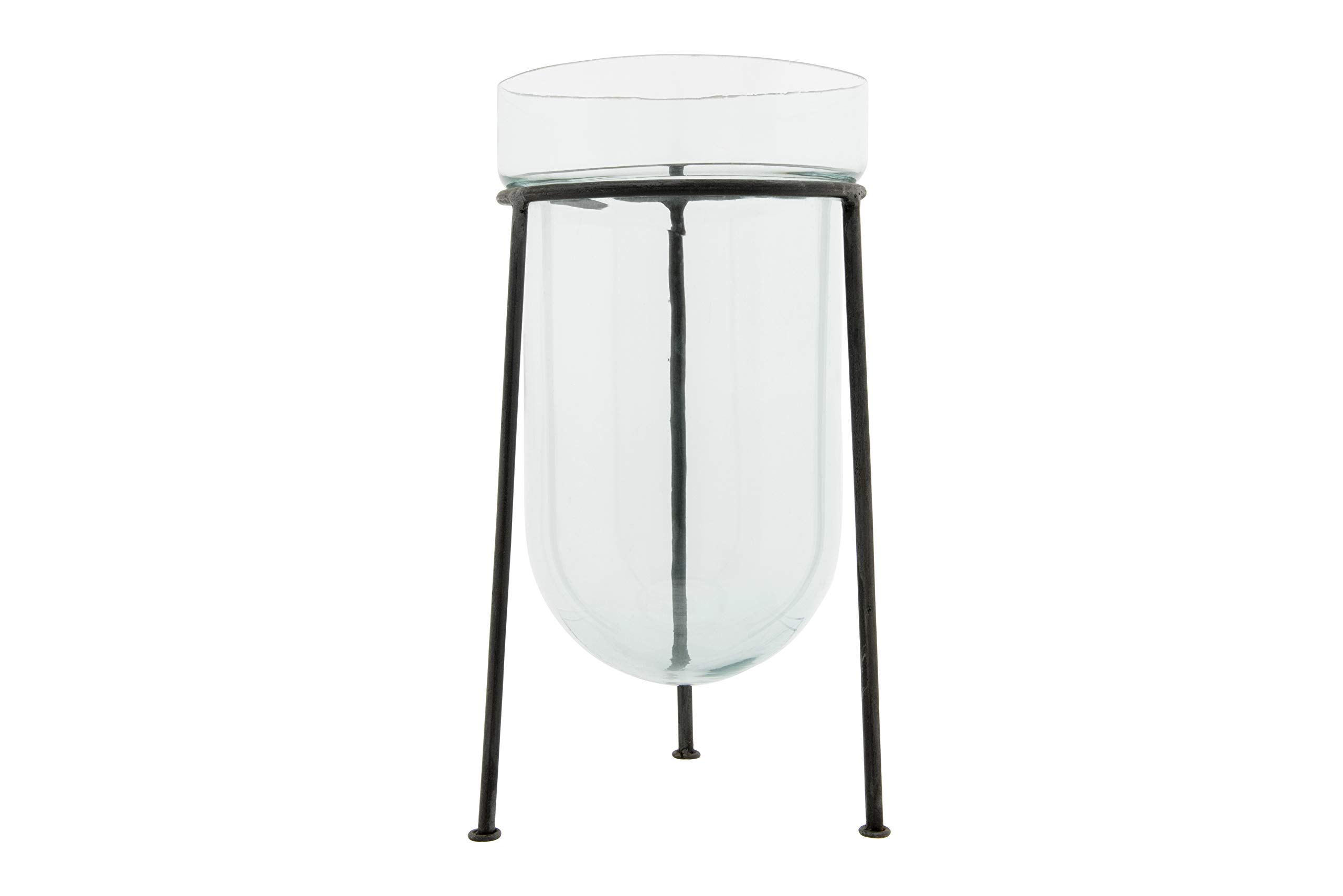 Creative Co-op Round Clear Glass Black Hand-Forged Metal Stand Hurricane
