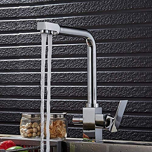 CHENBIN-BB タップ近代クロームホットとコールドキッチンの食器洗浄蛇口2関数リンク浄水器2ウォーターアウトレット回転式のシンクの蛇口の水