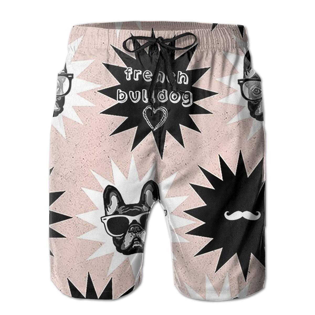 French Bulldog Art Digital Funny Swim Trunks Quick Dry Beachwear Sports Running Swim Board Shorts Mesh Lining
