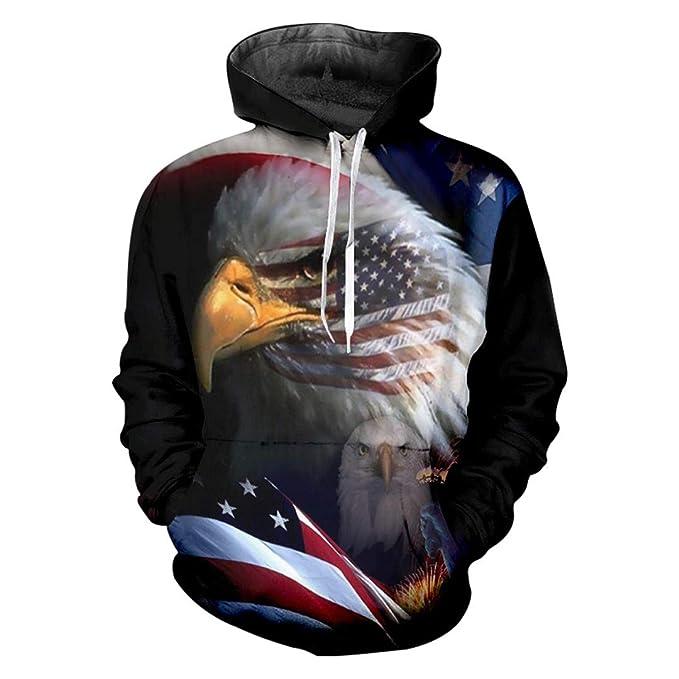 Mujeres/Hombres Cool Print American Flag Eagle 3D Sudadera Sudadera con Capucha: Amazon.es: Ropa y accesorios