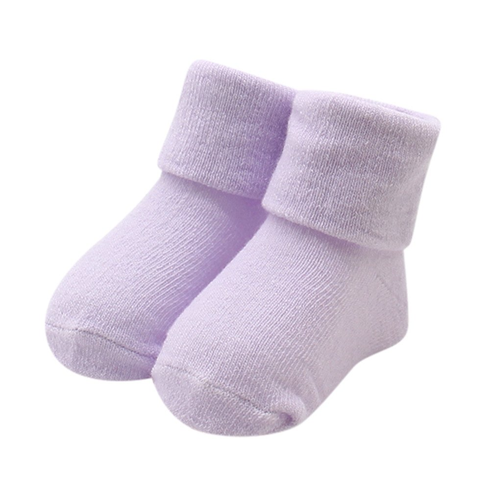 Quelife Kids Girls Comfortable Solid Cute Cotton Ruffled Sock Slippers Warm Ankle