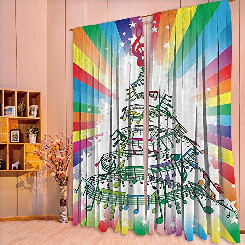 ZHICASSIESOPHIER Modern Style Room Darkening Blackout Window Treatment Curtain Valance for Kitchen/Living Room/Bedroom/Laundry,Notes as Christmas Tree with Rainbow Background 108Wx90L Inch