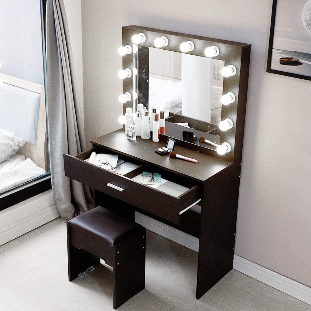 SPRAOI Makeup Desk Vanity Set with Lighting Mirror Cushioned Stool Dressing Table Makeup Table