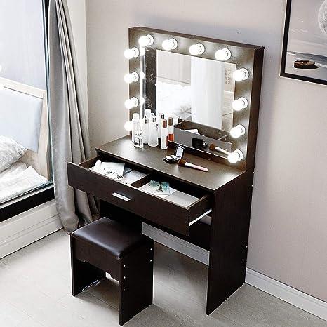 Us Fast Shipment Elegant Makeup Table Vanity Set With Lighted Mirror 12 Cool Led Bulbs Makeup Vanity Dressing Table Dresser Desk With Large Drawer For Bedroom Furniture Black Kitchen Dining