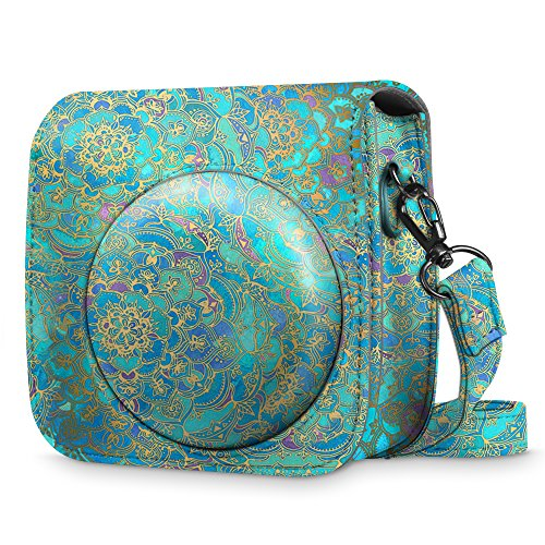 FINTIE Protective Case for Fujifilm Instax Mini 8 Mini 8+ Mini 9 Instant Camera - Premium Vegan Leather Bag Cover with Removable Strap, Shades of Blue