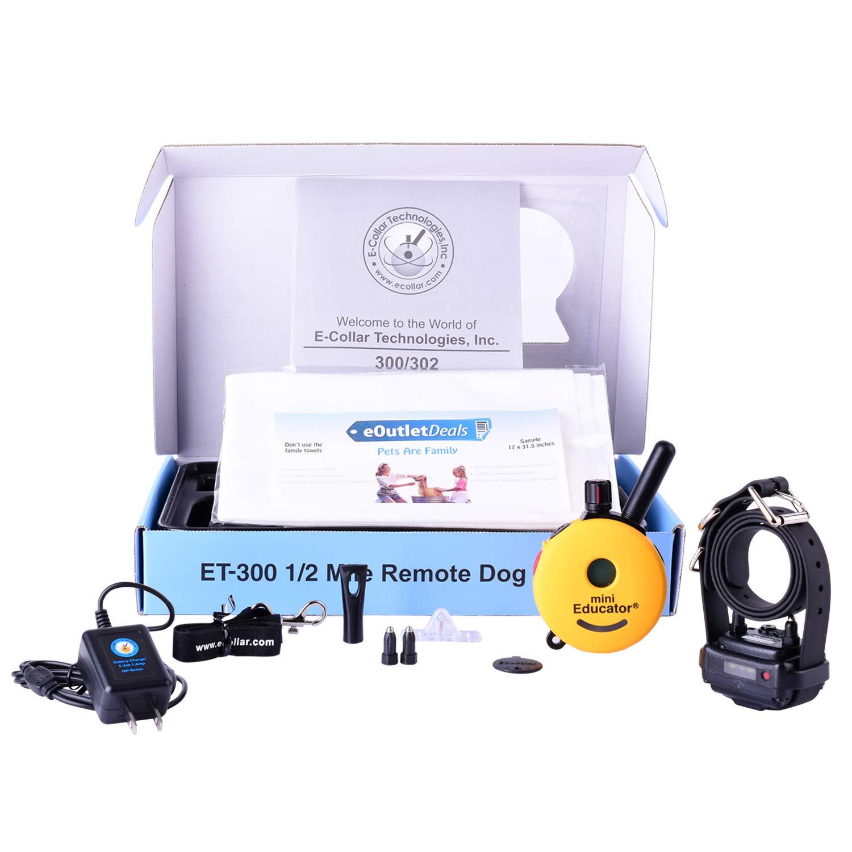 Mini Educator E-Collar ET-300 / ET-302 Dog Training Collar System with Remote - 1/2 Mile Range - Waterproof, Vibration, Tapping, Sensation - Bonus eOutletDeals Pet Towel (1 Dog System - ET-300)