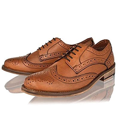 d5a22d88b15 MENS LEATHER FORMAL SHOES BLACK TAN SMART OFFICE OXFORD BROGUES SIZE 6-12  (10