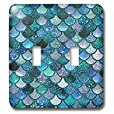 3dRose LSP_272861_2 Multicolor Girly Trend Blue Luxury Elegant Mermaid Scales Glitter Toggle Switch