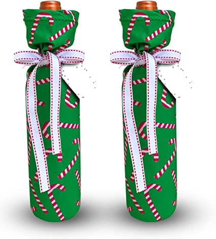 Ribbon candy peppermints and candy canes for your wine bottle. Wine bottle wrap embroidery design