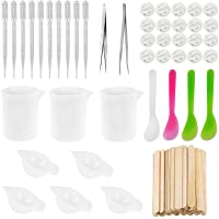 HOMEIDOL Epoxy Resin Tools Kit-8pcs Silicone Measuring Cups100ml &10ml, Tweezers with Mixing Sticks,10pcs Dropping…