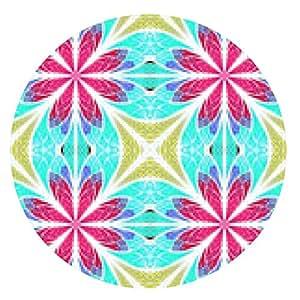 alfombrilla de ratón patrón fractal simétrica en estilo vidriera. Rosado, - ronda - 20cm
