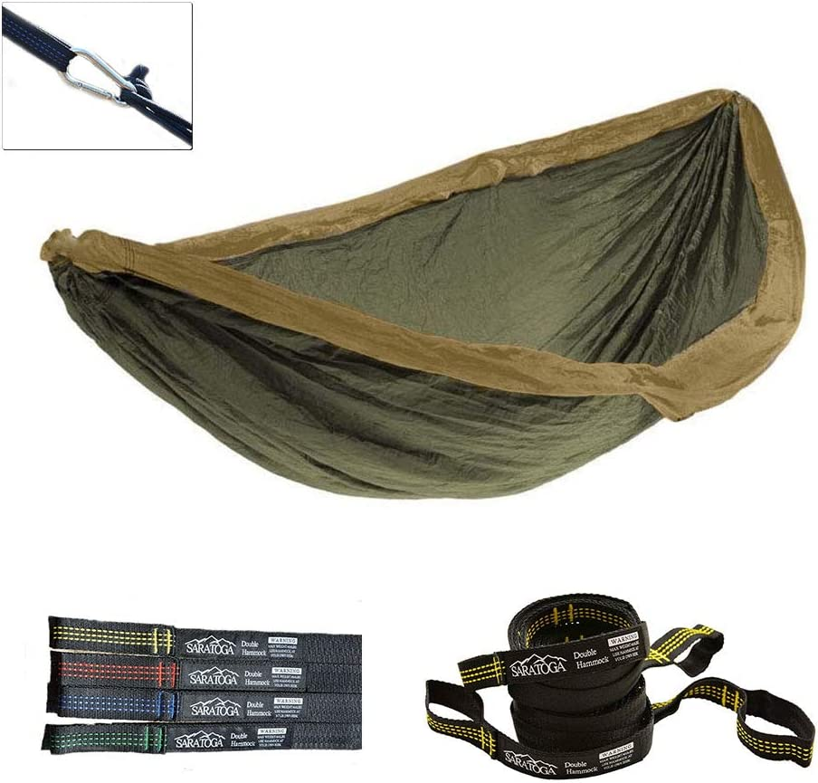 Double Lightweight Hammock with Tree Straps Parachute Nylon 2 Person Bed Backyard Portable Travel Survival Backpacking Indoor Outdoor Khaki w Yellow Strap