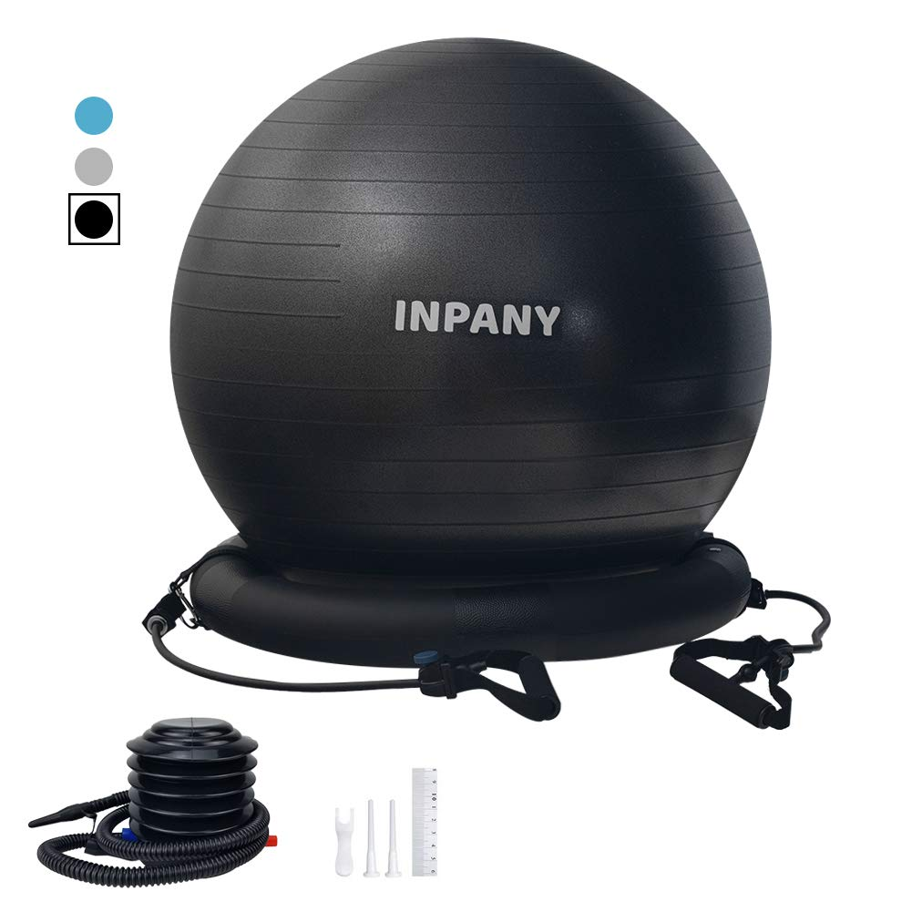 Exercise Ball Chair-65cm Yoga Ball with Stability Base, Extra Thick Balance Ball with Adjustable Resistance Bands, Leak-Proof Birthing Ball with Workout Posters&Quick Pump- Home&Gym&Office&Pregnancy by Inpany