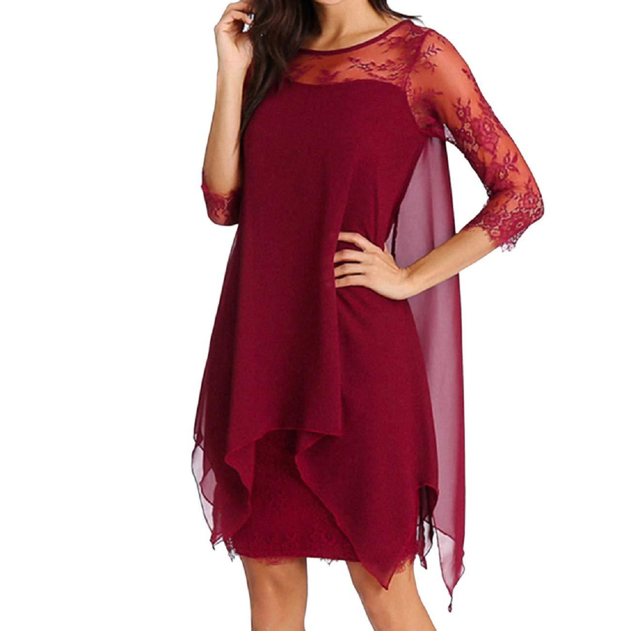 8d2d4479db93 Amazon.com: FAPIZI Women Solid O-Neck Asymmetrical Hem Lace Chiffon Long  Sleeve Casual Overlay Plus Size Mid Dress: Clothing