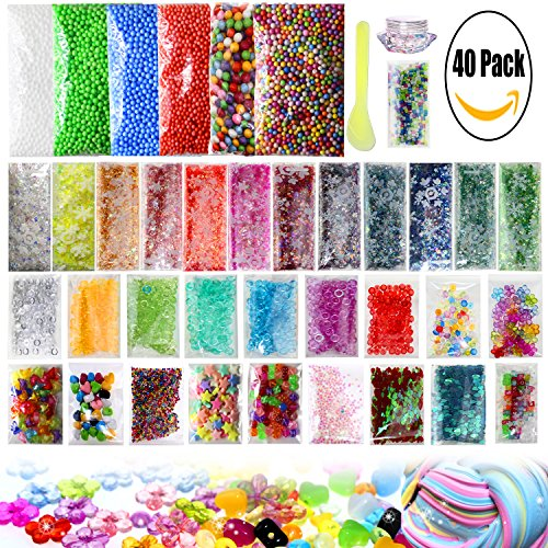 Slime Making Kits Supplies, 40 Packs Slime Supplies,Pearl, Foam Balls,Fishbowl Beads, Glitter Sheet Jars, Colorful Sugar Paper Accessories, Slime Tools for Slime Making Art DIY Craft