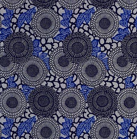 Blue Chiyogami Paper (Yuzen Chiyogami- Circular Indigo Blue Floral Pattern 18-3/4 x 25 Inch Sheet)