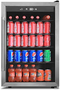 BEVERAGE AND WINE COOLER 4.4CU.FT Mini Beverage Refrigerator and Cooler, Perfect for Soda Beer or Wine Small Drink Dispenser Machine for Office or Bar