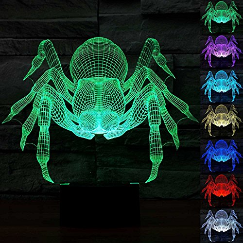 3D Illusion LED Night Light,7 Colors Gradual Changing Touch Switch USB Table Lamp for Holiday Gifts or Home Decorations-Spider Model by Threetoo