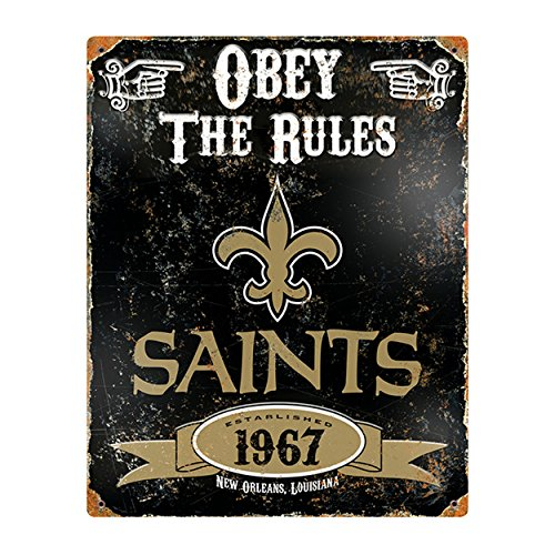 Party Animal NFL Embossed Metal Vintage New Orleans Saints Sign ()