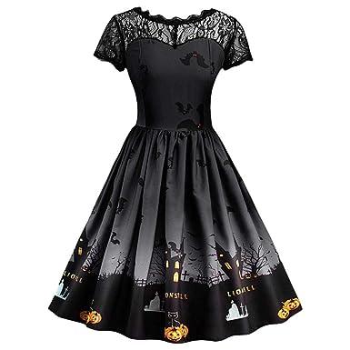 3b4a00eb9788 Clearance Halloween Dress, Forthery Women Pumpkin Skater Swing Dress A-line  Lace Skull Dress