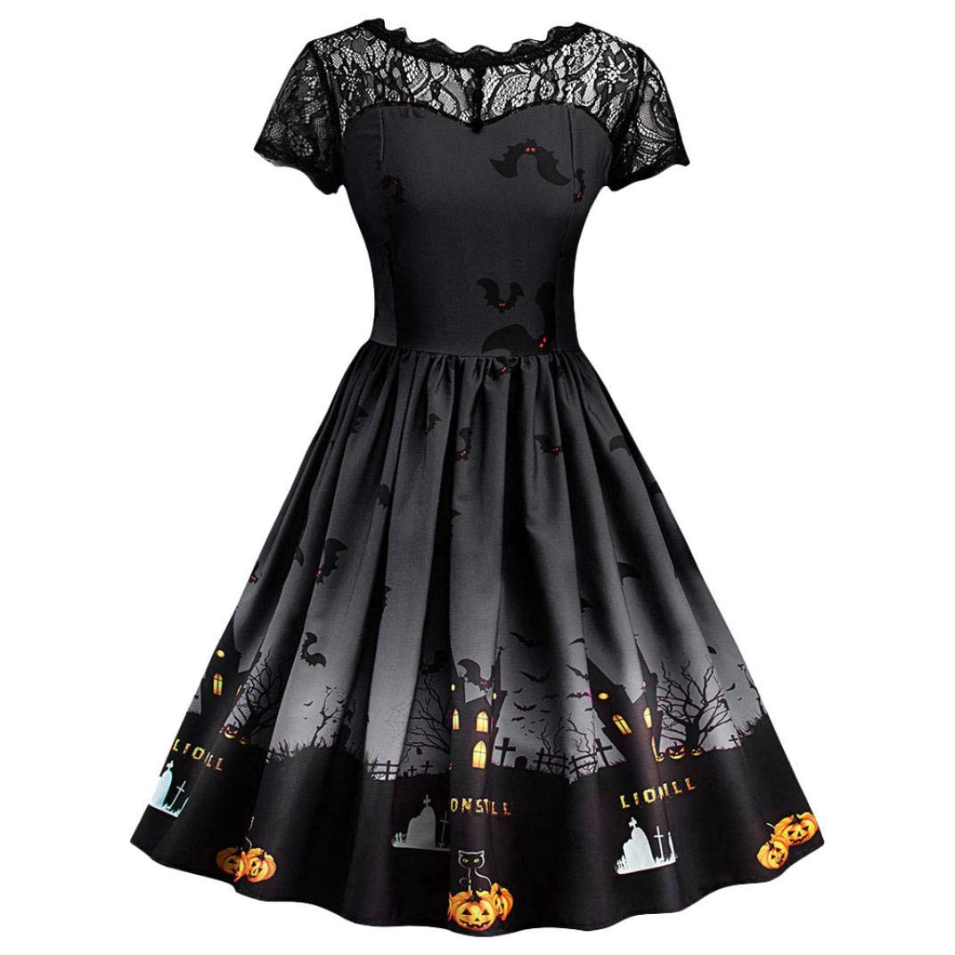 Clearance Halloween Dress, Forthery Women Pumpkin Skater Swing Dress A-line Lace Skull Dress (US Size M = Tag L, Black)