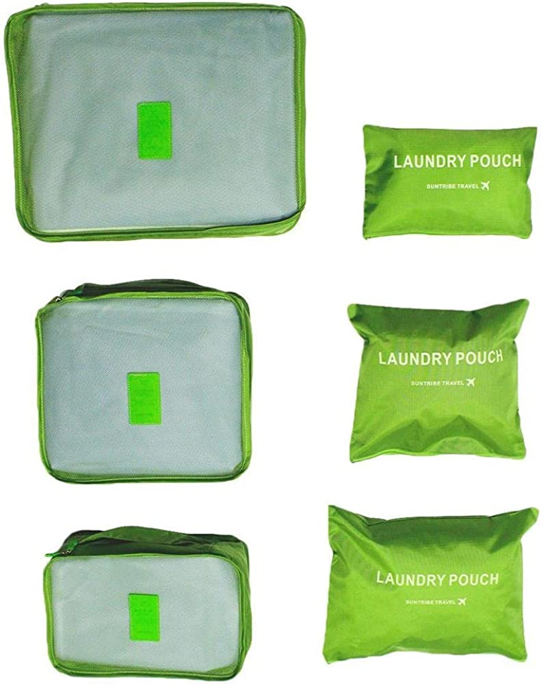 Leegoal 6pcs Multifunctional Portable Waterproof Travel Luggage Organizer with Shoe Bag Packing Cube Baggage Organizer,3 Cubes 3 Pouches,Green TM