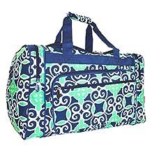 NGIL Travel Duffel Bag, Nautical Blue Mint Green (16-inch)