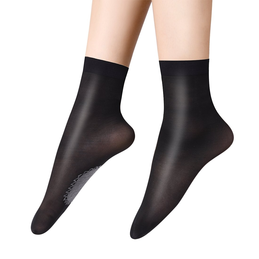 Anliceform Women Fashion Sexy Silky Socks, Anti-Slip Cotton Sole Sheer Ankle High Tights Hosiery Socks