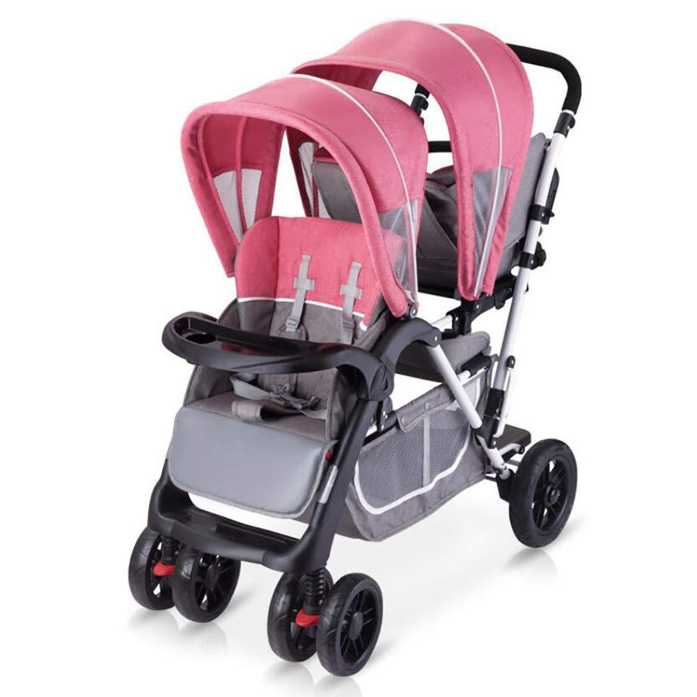 STC Kinderwagen Vorne und Hinten Doppelt Tragbar Falten Sitzend Allradwagen 0-3 Jahre Altes Baby