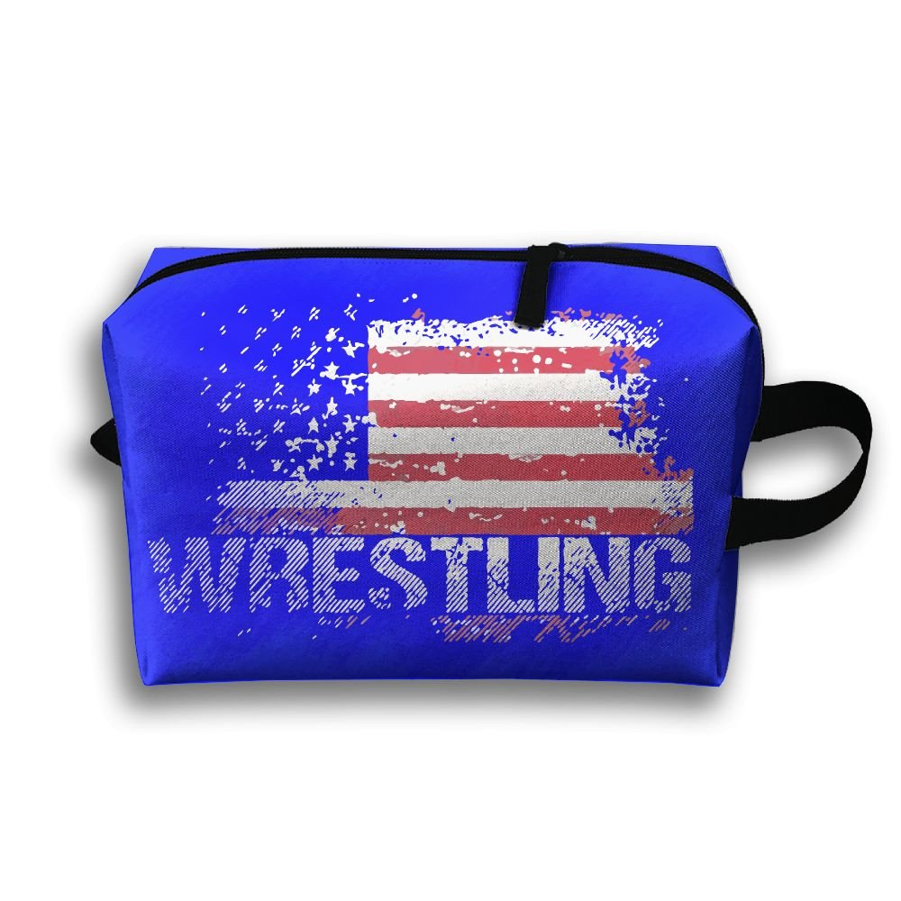 Wrestling American Flag Toiletry Travel Bag Shaving Bag Sturdy Hanging Organizer Unisex by TOP47