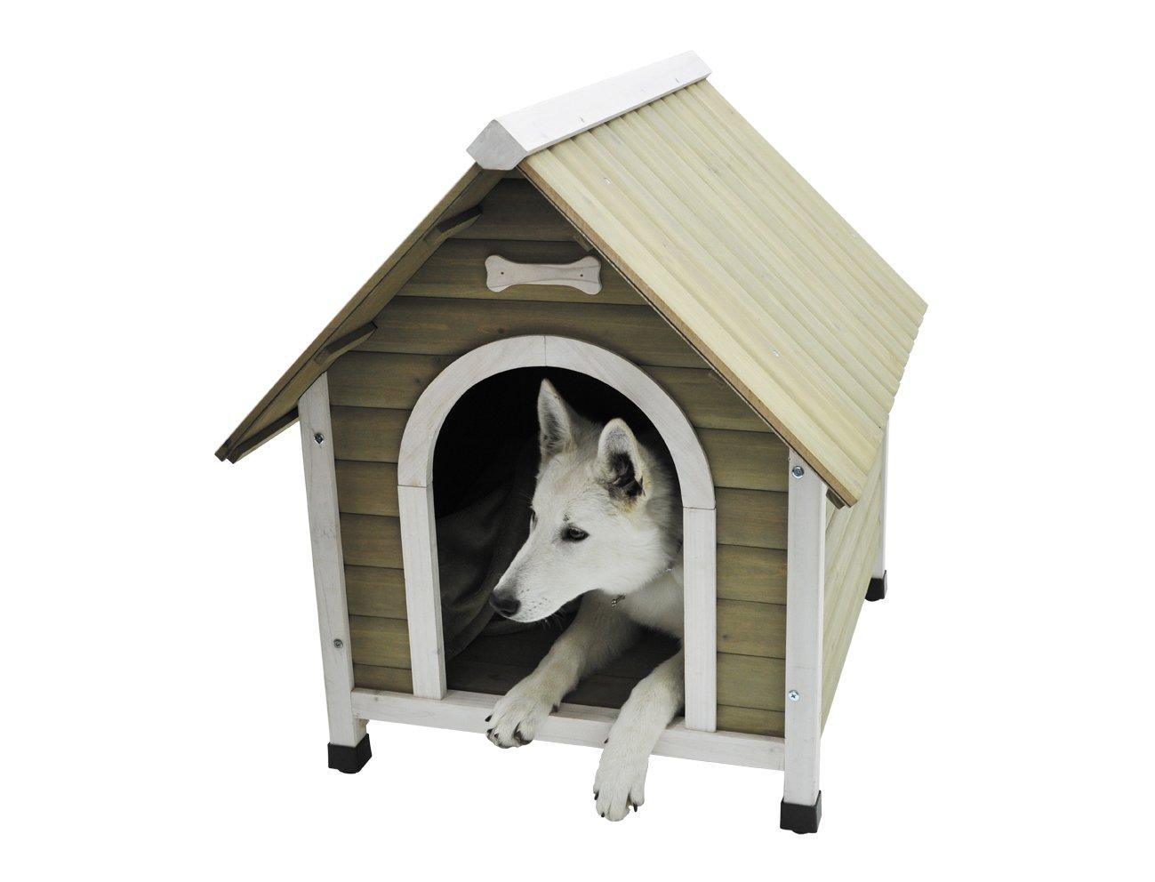 Nobby caseta de madera con techo inclinado para perro