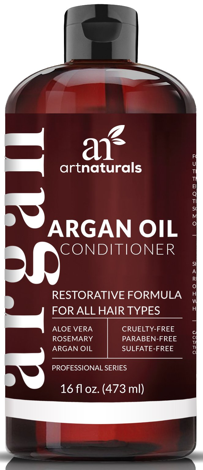ArtNaturals Argan Oil Hair Conditioner - 16 Oz - Sulfate Free - Best Treatment for Damaged & Dry Hair - Made with Organic Ingredients & Keratin - For All Hair Types - Safe for Color Treated Hair