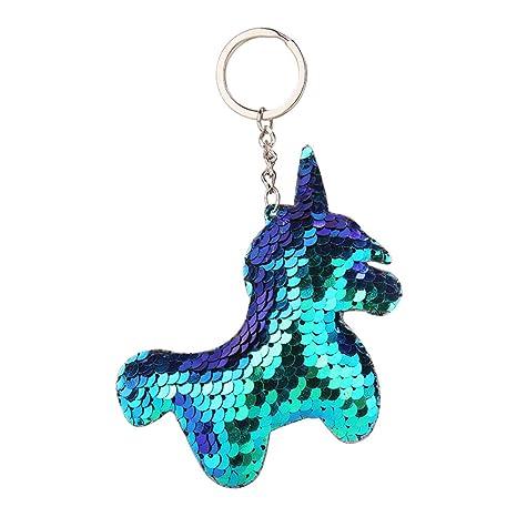 Hacoly Cute Sequins Unicorn Keychain Llavero, Mochila/Monedero / Bolso/Coche / Teléfono móvil Colgante - Regalos de Navidad Hombres, Mujeres, Niños ...