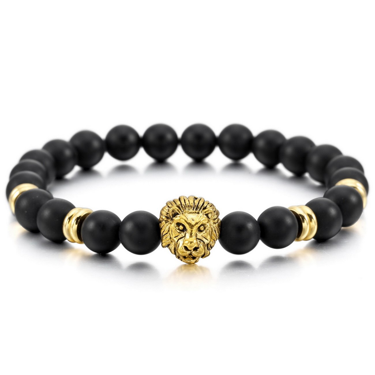 MOWOM Silver Gold Two Tone Black 8mm Wide Alloy Bracelet Bangle Link Wrist Simulated Agate Energy Stone Buddha Mala Bead Elastic ca5020126