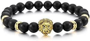 MOWOM Silver Gold Two Tone Black 8mm Wide Alloy Bracelet Bangle Link Wrist Simulated Agate Energy Stone Buddha Mala Bead Elastic