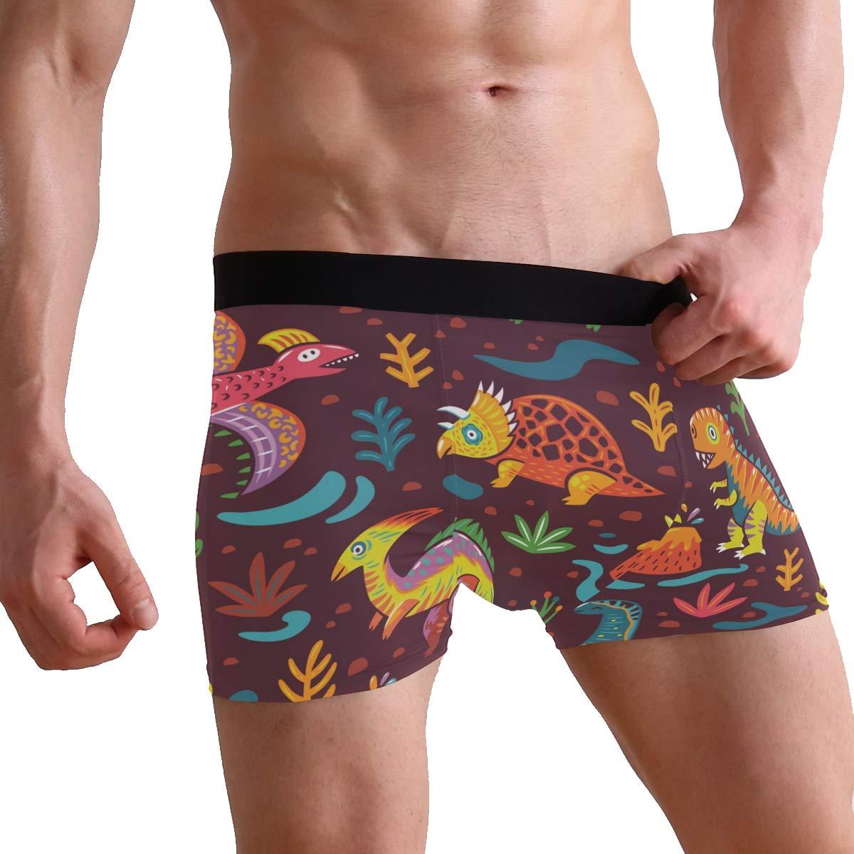 Mens Comfortable Underwear Trunk Dinosaur Pattern Boxer Briefs for Men