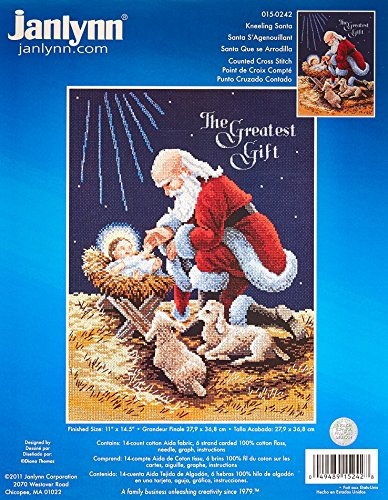 Janlynn Counted Cross Stitch Kit, Kneeling Santa -  15-0242