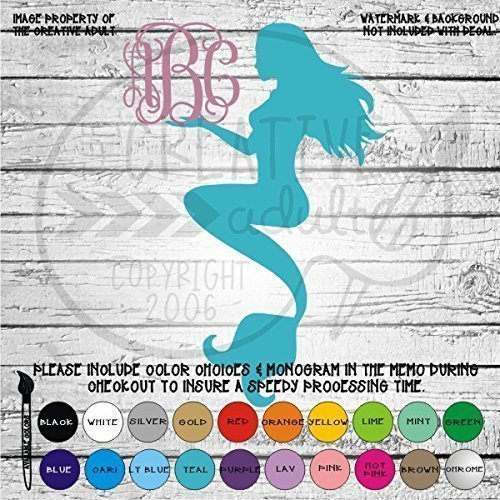 Mermaid Monogram Vinyl Die Cut Decal Sticker for Car Laptop etc MGM80