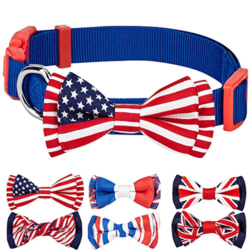 Blueberry Pet 6 Designs National Pride Classic Handmade American Flag Bow Tie Dog Collar in Blue, Small, Neck 12