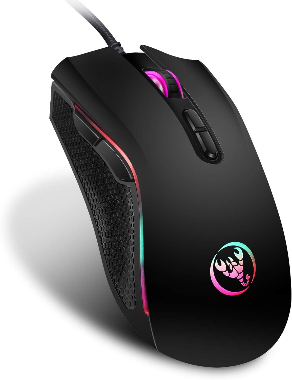 Yocktec Mouse da Gioco Ottico retroilluminato RGB, Alta precisione Mouse da Gioco ergonomico cablato Professionale con 4 Livelli DPI per PC/Windows/Mac/OS