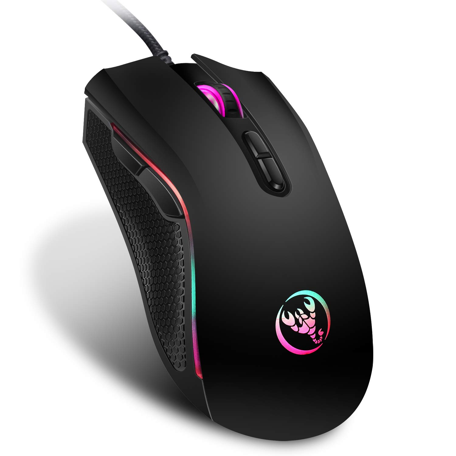 HXSJ A869 Gaming Mouse Wired,7 Programmable Buttons, 7 Bright Colors LED and Ergonomics Design for Comfortable Touch, 3200 DPI Adjustable,Black Black