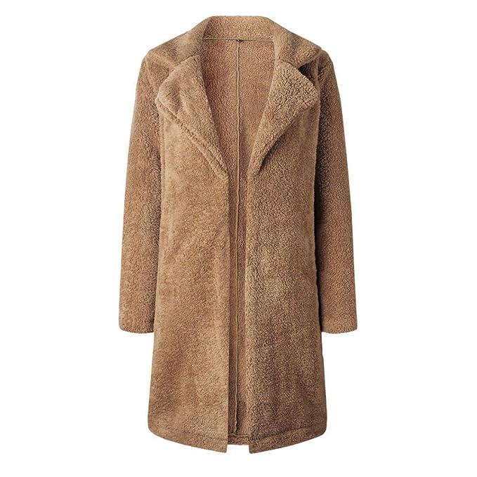 Yvelands Mujeres Abrigo de Solapa cálido Bolsillo de Manga Larga Blusa Frente Abierta Chaqueta Abrigo Prendas de Abrigo largas: Amazon.es: Ropa y accesorios