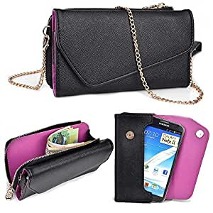 LG GX, F310L Wallet Wristlet Clutch With Crossbody Chain and Hand Strap (Removable) and Credit Card Slots| Black & Exotic Purple